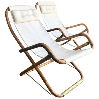 Midcentury Pair of White Campaign Chairs in Brass and Bamboo, Italy, 1960s For Sale
