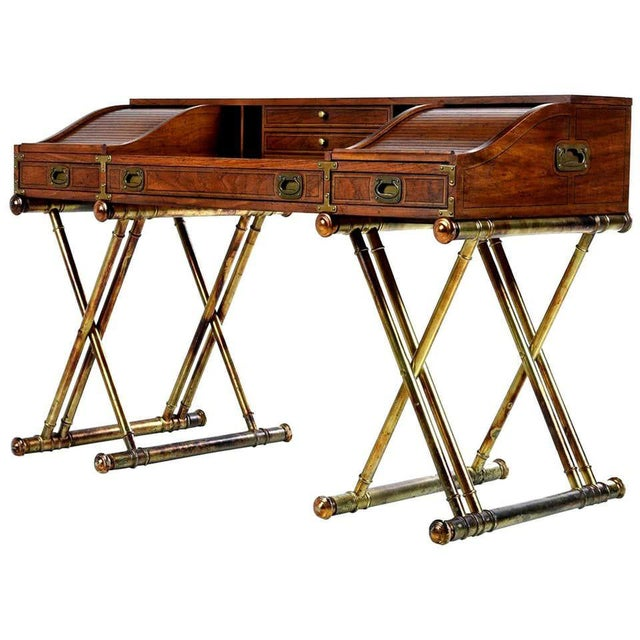 Oxford Square by Drexel Faux Brass Leg Campaign Style Tambour Roll Top Desk For Sale In Houston - Image 6 of 13