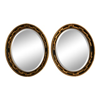 Friedman Brothers Regency Style Oval Gilded Beveled Glass Accent Mirrors - a Pair For Sale