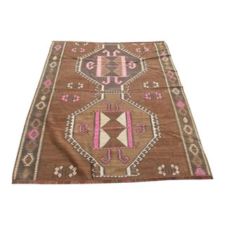 Vintage Tribal Design Kars Kilim Rug For Sale