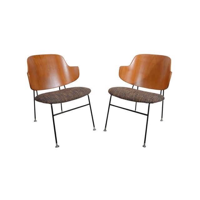 Kofod Larsen Penguin Chairs Danish Modern Lounge Chairs - A Pair For Sale
