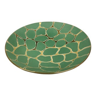 Handmade Croc Painted Ceramic Bowl For Sale