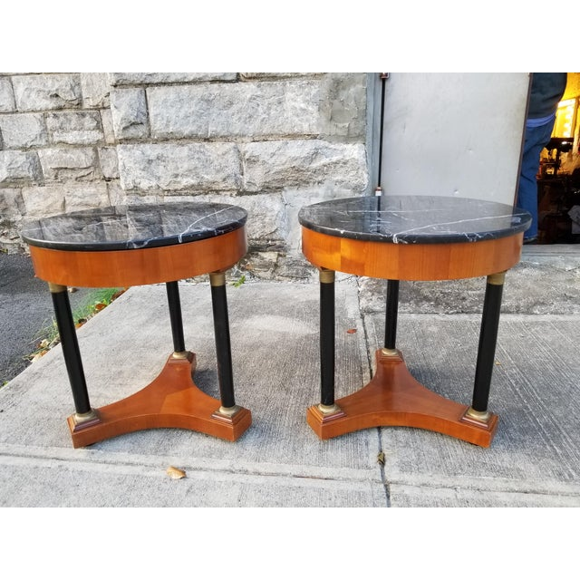 Italian Empire Style Marble Top Side Tables - A Pair For Sale - Image 11 of 11