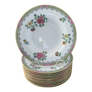 Copeland Spode Green and Pink Peony Chinoiserie 10 Inch Bone China Bowls- Set of 6 (12 Available) For Sale