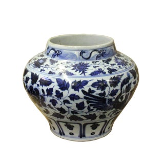 Chinese Blue White Porcelain Graphic Fat Body Vase Jar For Sale