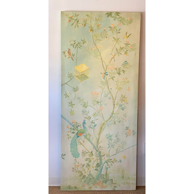Shabby Chic Chinoiserie Birds on Vintage Painted Canvas Panel For Sale - Image 3 of 3