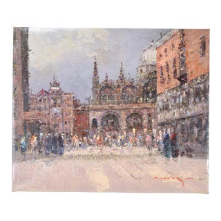 1990s Piazza San Marco St. Marks Square Venice Impressionist Inspired Oil Painting For Sale