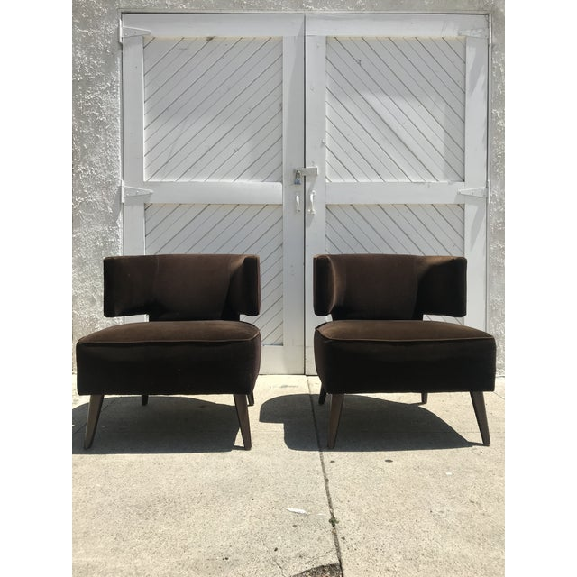 Room & Board Pair of Room & Board Mid-Century Brown Velvet Chairs For Sale - Image 4 of 4
