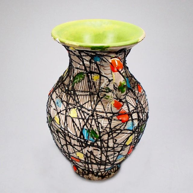 Abstract Mid-Century Fratelli Fanciullacci Italian Art Pottery Vase With Handles For Sale - Image 3 of 8