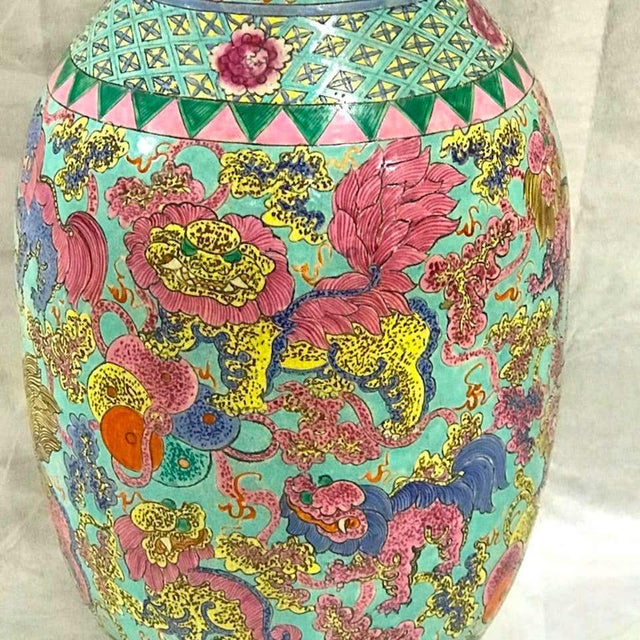 Late 19th Century Exquisite Chinese Famille Rose Foo Dog Motif Vase, Now as a Lamp For Sale - Image 5 of 10
