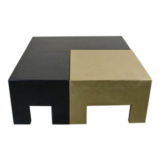 Sectional Coffee Table - Black Lacquer & Brass For Sale
