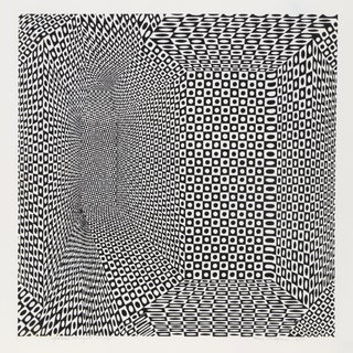 "1960s Roy Ahlgren, ""Spatial Concept Ii"", Op Art Screenprint For Sale"