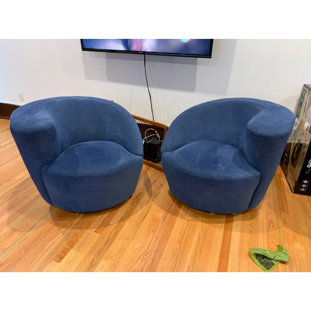 Modern Vladimir Kagan for Directional Nautilus Ultrasuede Swivel Chairs- a Pair For Sale - Image 10 of 10