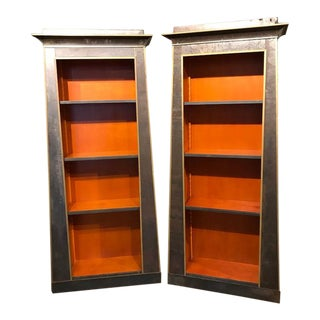 Neoclassical Style Iron Clad Bookshelves - A Pair For Sale