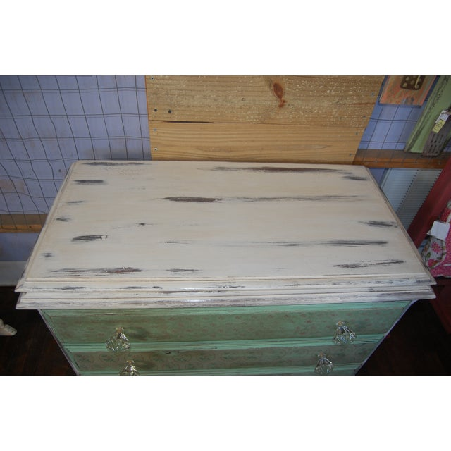 Vintage Shabby Chic Painted Green & White Dresser - Image 7 of 9