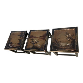 Hand Painted Ming Asian Style Side Tables - Set of 3 For Sale