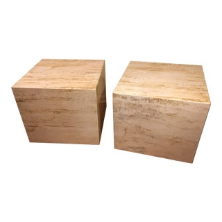 Mid-Century Modern Travertine Side Tables on Wheels - A Pair For Sale