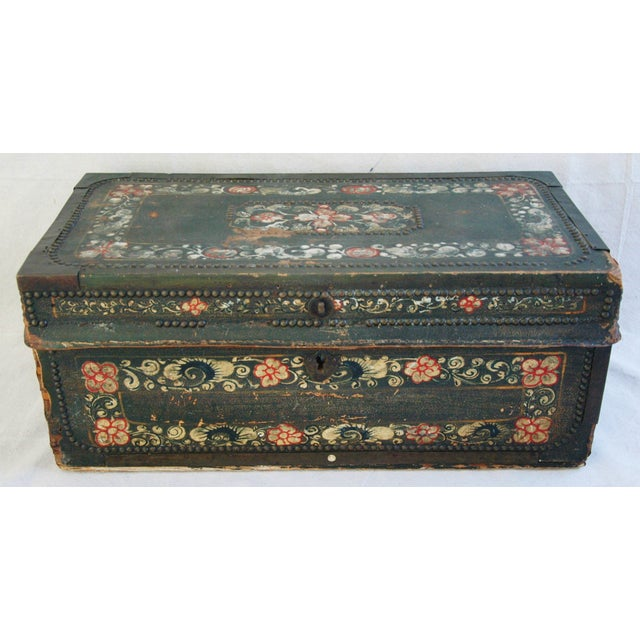 French 19th C. Hand Painted Leather Trunk - Image 2 of 10