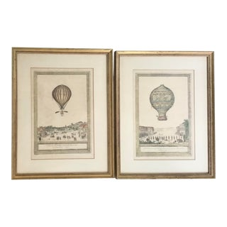 French 18th C Lithographs of Balloon Air Scenes - a Pair For Sale
