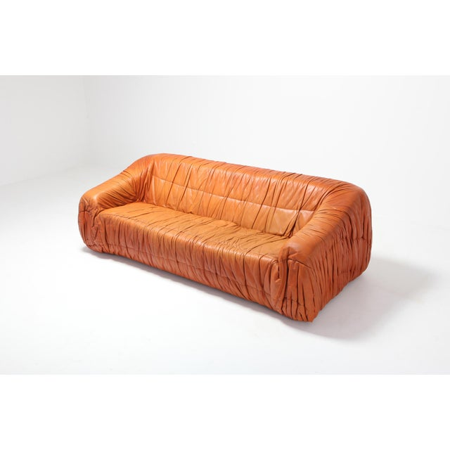Italian Postmodern Cognac Leather 'Piumino' Sofa by De Pas, D'urbino & Lomazzi For Sale - Image 3 of 8