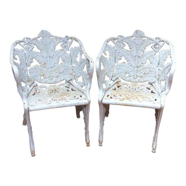Victorian Iron Fern Garden Chairs - A Pair For Sale