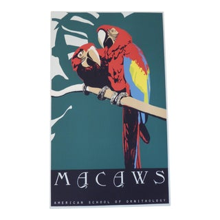 Large Vintage Tropical Beverly Hills Macaw Parrot Silkscreen Print For Sale