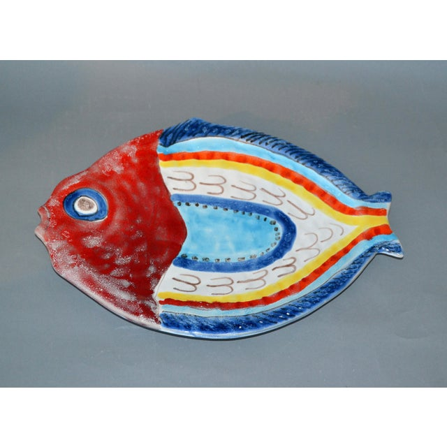 Ceramic Italian Giovanni Desimone Hand Painted Pottery, Fish Platter, Serving Plate For Sale - Image 7 of 12