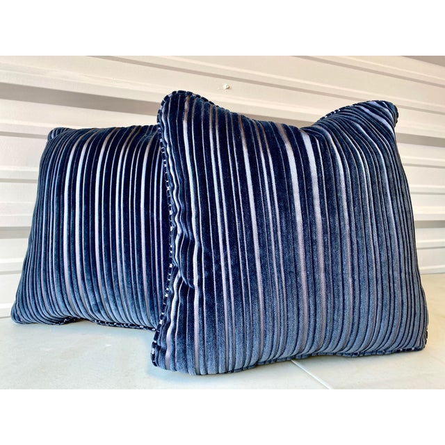 2020s Contemporary Navy Blue Stripped Pillows - a Pair For Sale - Image 5 of 5