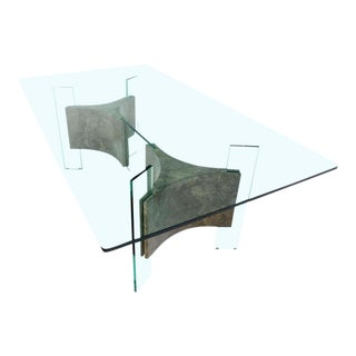 Mid-Century Modern Glass-Top and Base Dining Table For Sale
