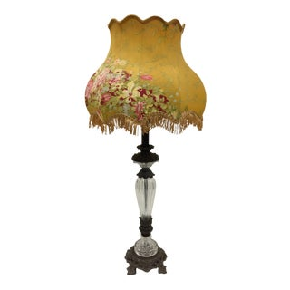 Vintage Glass Table Lamp With Antique French Lampshade For Sale