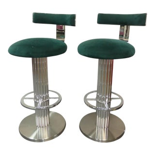 Design for Leisure Excalibur Chromed Nickel Bar Stools - a Pair For Sale