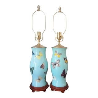 Custom Decoupage Butterfly Design Lamps - a Pair For Sale