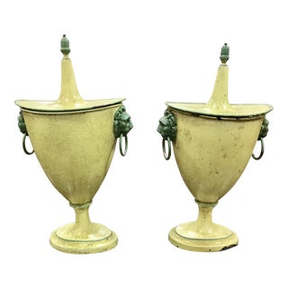 French Painted Tole Covered Urns. A Pair For Sale