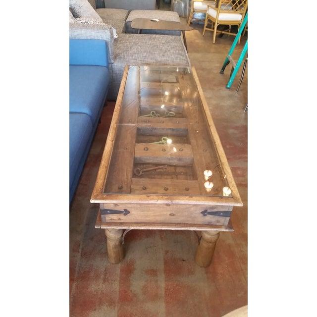 Vintage Door Coffee Table With Glass Top & Keys Inside