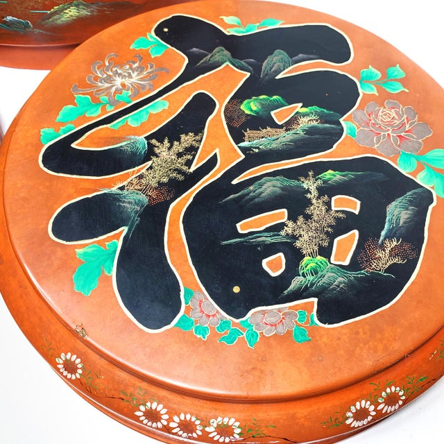Vintage Chinese Mid Century Lacquer Hand Painted Wedding Box For Sale - Image 4 of 5