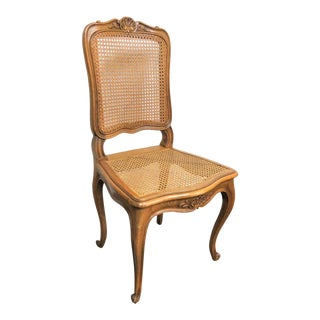 20th Century Louis XV Walnut Caned Side Chair For Sale
