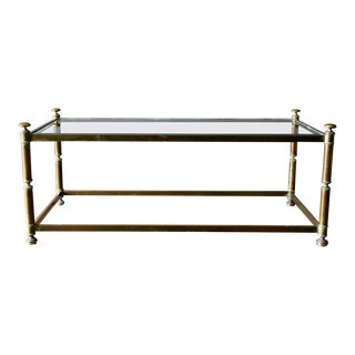 Hollywood Regency Brass and Beveled Glass Coffee Table, Ca. 1970 For Sale
