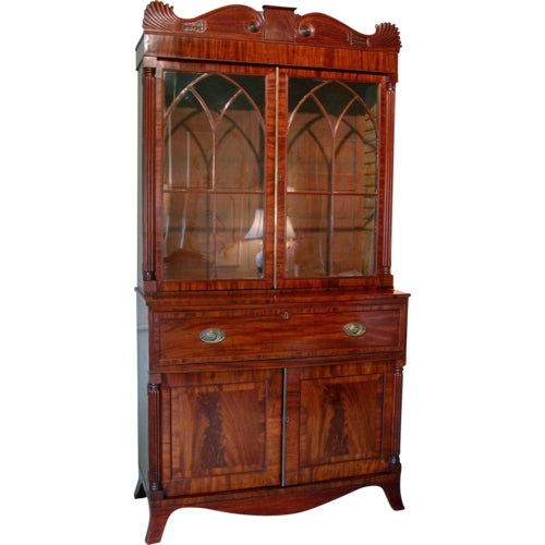 English William IV Mahogany Secretary Bookcase For Sale - Image 11 of 11