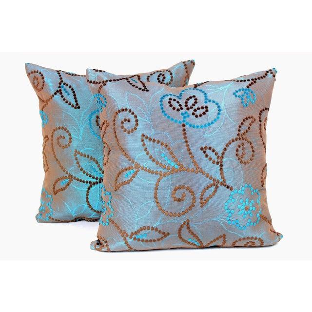 Vintage Floral Handwoven Varanasi Brocade Reversible Pillow For Sale - Image 10 of 13