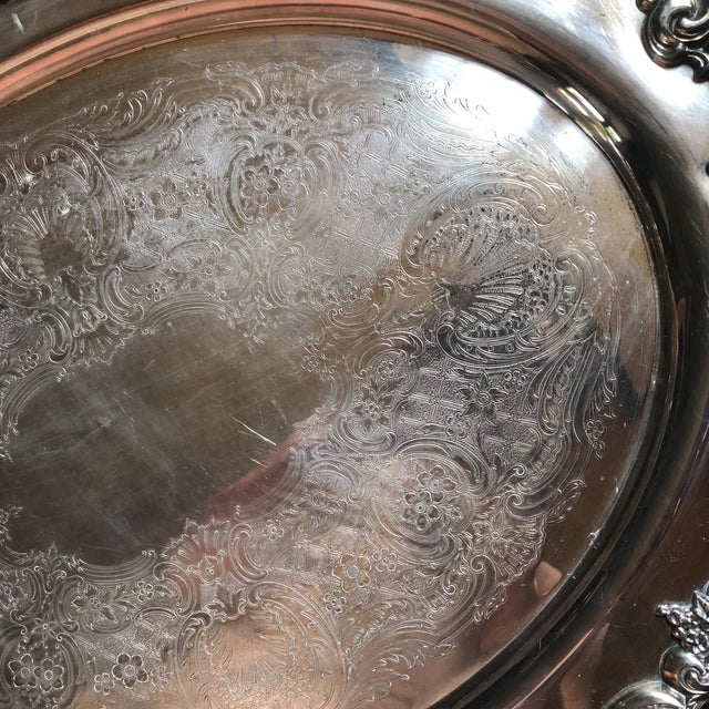 Metal Reed & Barton El Greco Large Silverplated Serving Waiter Tray For Sale - Image 7 of 13
