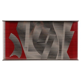 Contemporary Gray & Red Acrylic Optic Art For Sale