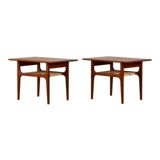 Pair of Trioh Møbler Teak and Cane Side Tables For Sale