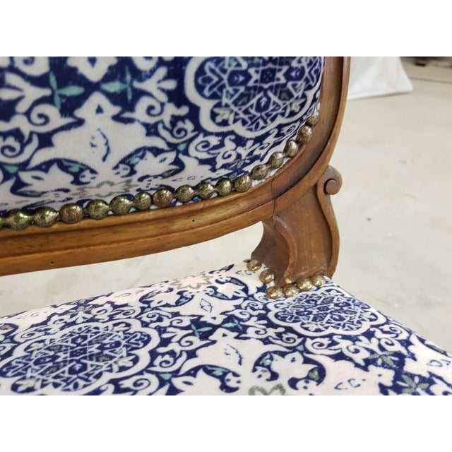 Blue Gorgeous Pair of French Newly Upholstered Carved Walnut Louis XV Caster Wheel Armchairs For Sale - Image 8 of 13