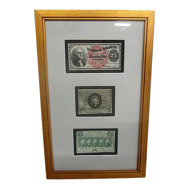 Antique Framed Currency Notes | Chairish