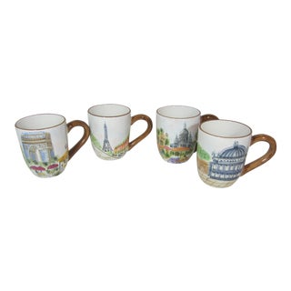 1980s Parisian American Atelier Coffee Cups - Set of 4 For Sale
