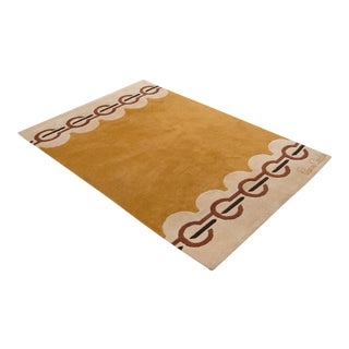 Modernist Wool Rug by Pierre Cardin in Golden Yellow, Denmark 1960s For Sale