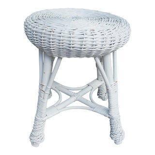 Vintage Bohemian Boho Round White Bamboo Rattan Wicker Side Table For Sale