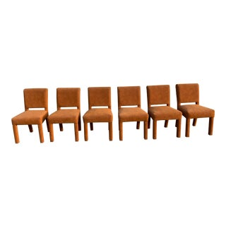 Milo Baughman Style Brown Suede Parson Chairs For Sale