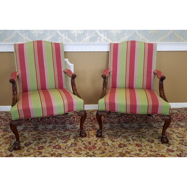 Description: This is a fantastic pair of Southwood Furniture Martha Washington Gainsborough mahogany Chippendale style...