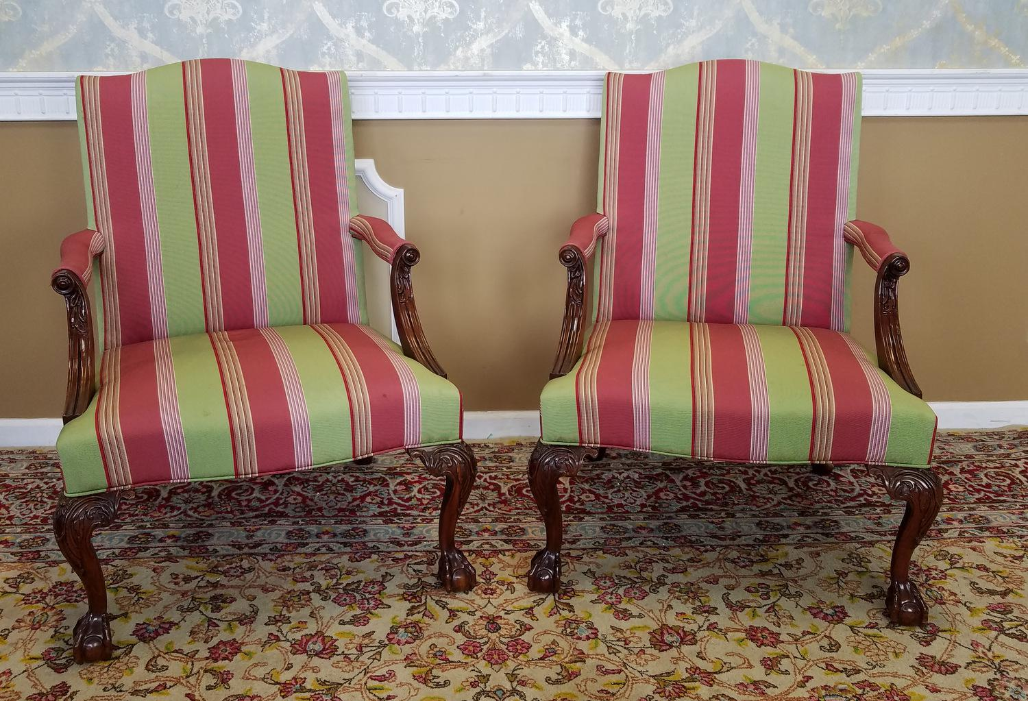 Exceptionnel Martha Washington Mahogany Chippendale Style Southwood Furniture  Gainsborough Armchairs   A Pair   Image 2 Of